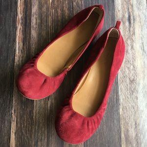 J CREW maroon red suede cece ballet flat 8